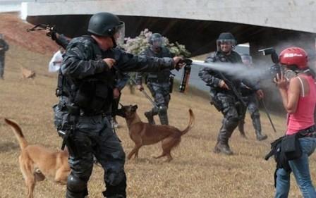 A repórter fotográfica Monique Renne, do Correio Braziliense, atingida por jatos de spray de pimenta enquanto cobria manifestações no feriado de 7 de Setembro de 2013, em Brasília - Foto: Fábio Braga