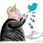 Charge de Simanca mostra Trump disparando ofensas através do Twitter