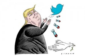 Charge de Simanca mostra Trump disparando ofensas através do Twitter
